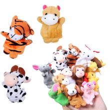 2016 New Cute 12PCS Lovely Baby Kids Plush Cartoon Doll Cute Animal Finger Puppets Educational Sleep Story Toys Set