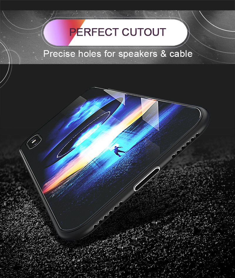 TOMKAS Luxury Space Cover Case for iPhone X Xs Max Xr Xs Glass Silicone Phone Case for iPhone 7 8 Plus Cases for iPhone 6 S 6s (16)