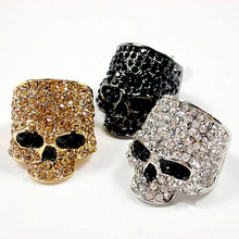 Brand Skull Rings For Men Rock Punk Unisex Crystal Black/Gold Color Biker Ring Fashion Skull Jewelry Wholesale(China)