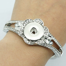 New SG0165 Fashion silver crystal flower snap Bracelet bangle fit 18MM snap button jewelry wholesale(China)