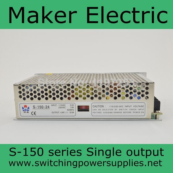 S-150-24 LED Switching Power Supply , 110V 220V AC to DC 24V 6.5A 150W single Output<br>