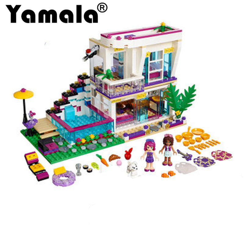 [Yamala] New 619pcs Friends Series Livis Pop Star House Building Blocks Andrea mini-doll figures Toy Compatible With Legoingly<br>