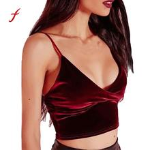 Buy Feitong Sexy Summer Vintage Women Velvet Cropped Tank Top Halter V-Neck Sleeveless Camisole Vest Bandage Backless Crop Top
