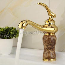 Free shipping New Golden and Marble Stone Faucet Bathroom Vanity Sink Faucet Luxury Brass Tap with Hot and Cold Pipe Mixer ZR808