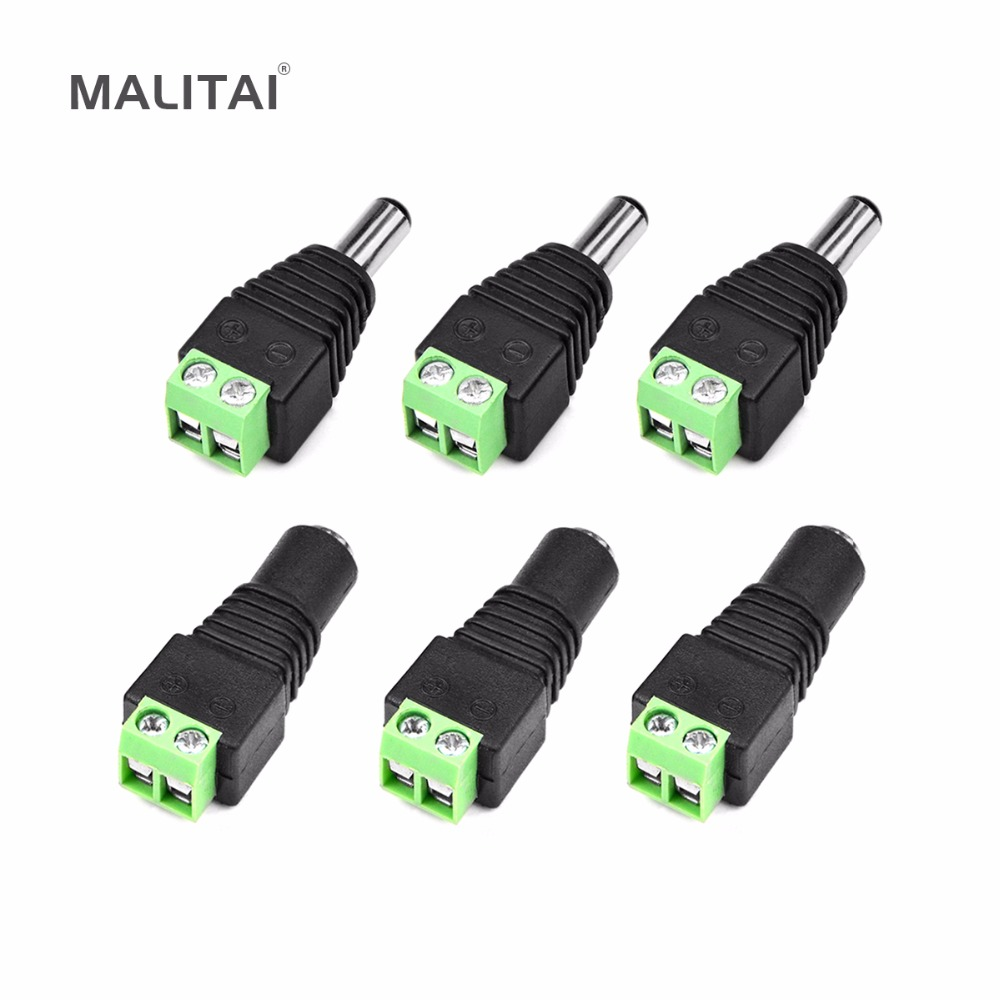 MALITAI Male or Female LED Strip Light DC Connector 2.1 x 5.5mm Jack Size Power Adapter Connector Plug for CCTV DVR(China (Mainland))