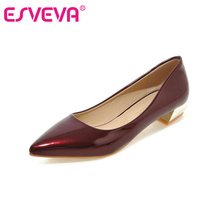 ESVEVA Slip On Square Heel Platform Ladies Summer Shoes PU Patent leather Woman Pump Pointed Toe Ladies Wedding Shoe Size 34-43