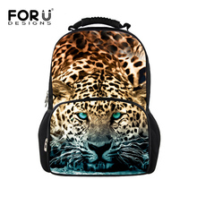 FORUDESIGNS Leopard Backpack For Men 3d Tiger Animal Printing Male Backpacks Students Computer Laptop Bag Travel Bagpack For Boy