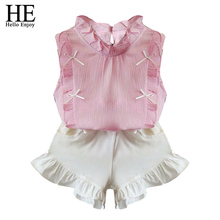 HE Hello Enjoy children clothing sets girls clothes summer tops+shorts suits Sleeveless kids clothes for girl summer set fashion(China)