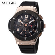 MEGIR Original Quartz Men Watch Big Dial Silicone Sport Military Watches Clock Men Chronograph Wristwatch 3002 Relogio Masculino(China)