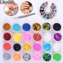 Elite99 Manicure Set 24 Color Fine Glitter + 1 Rhinestones Nipper Picking Tool + Rhinestones Wheel Container Nail Art DIY Kit