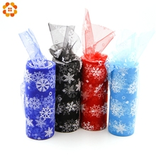 10yardX15cm White Snowflake Crystal Tulle Organza Sheer Gauze Element For Table Runner And Home Garden Wedding Party Decoration(China)