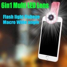 6in1 LED Flashlight Fish Eye Lenses Wide Angle Macro Phone Lens HTC 10 eye edoogee x5 max x6 elephone s7 gooweel nexus 5
