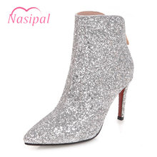 Nasipal Bling Bling Glitter Boots High Heels Pointed Toe Ankle Boots For  Women Zipper Botas Femininas 693dd0688d8c