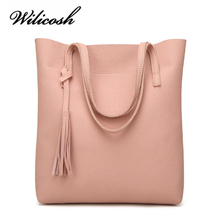 Wilicosh Women Shoulder Bag Leather Luxury Handbags Women Bags Designer Tassel Ladies Shoulder Bags Female Bucket Bag WBS004