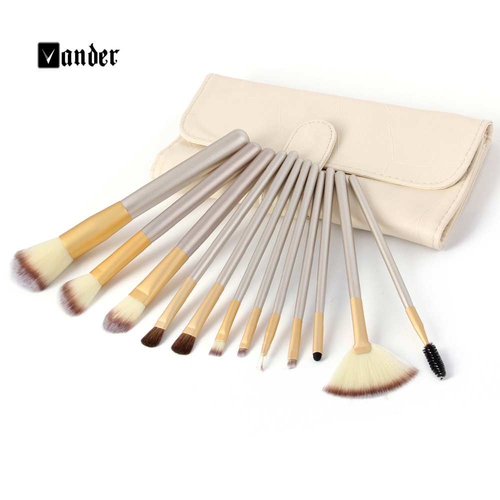 Champagne 12 Pcs Makeup Brushes Professional Maquiagens Tools Synthetic Makeup Brush Set With Brush Bag(China (Mainland))