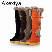 Akexiya Hot Sale Buckle Knee High Women Winter Fur Boots Solid Round Toe Women Winter Wedges Winter Fashion Snow Boots