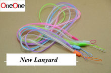 wholesale 500pcs/lot double color long Lanyard Mobile Cell Phone rope Key USB Badge Cords Strap