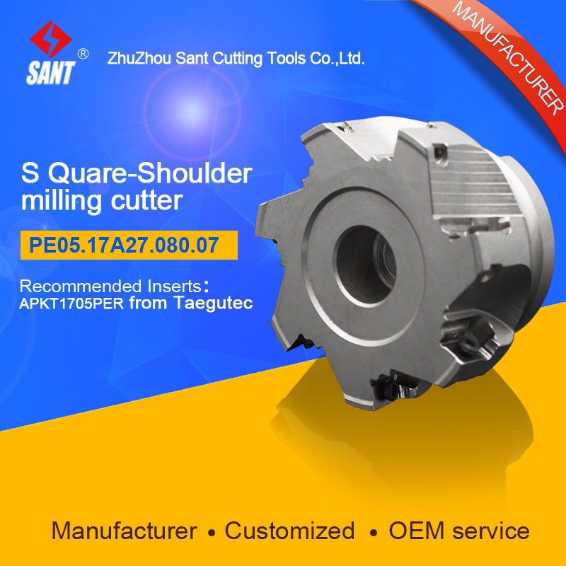 Indexable Milling cutter PE05.17A27.080.07, with APKT1705PER carbide insert for taegutec from SANT cutting tools company<br>
