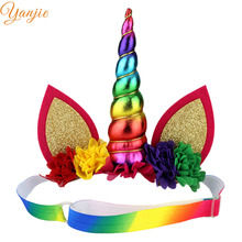 Rainbow Unicorn Horn Adjustable Elastic Headband For Girls Crown Hair Accessoires Kids Chiffon Flowers Hair Bands Birthday Gift(China)