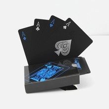 Free Shipping waterproof plastic pvc playing cards set pure black poker card sets classic board game cards(China)