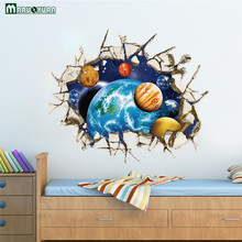 MARUOXUAN 3D Walls Space Planet Stickers Bedroom Living Room Ceiling Background Decorative Stickers PVC Wall Stickers