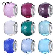 Jewelry Beads Glass Drum sterling silver double core without troll & faceted more colors for choice 9x11mm(China)