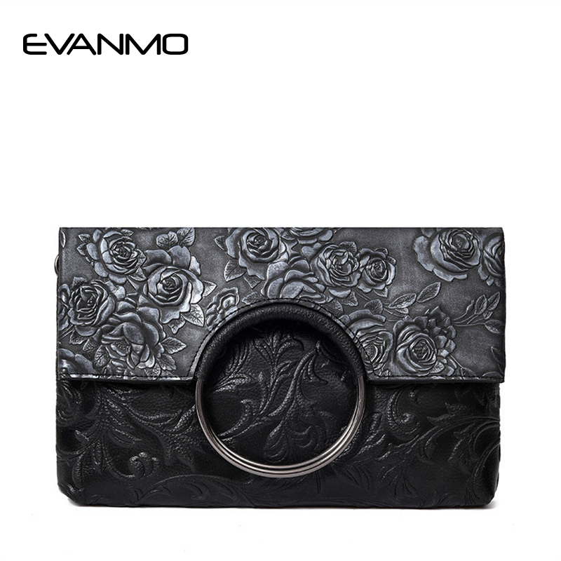 Soft Genuine Leather Shoulder Bag Fashion Embossed New Simple Small Square Bag European and American Fashion Flowers Handbag<br>