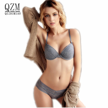 QIZHIMIAO New Brand Summer Sexy Push Up Bra Sets Women's Fashion Lace Underwear Set Intimate Noble Young Girl Bra Brief Sets(China)