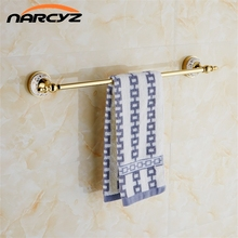 Wall Mounted Gold Copper Single Towel Bar Bathroom Accessories Sanitary Wares Towel Rack Towel Shelf 9092K(China)