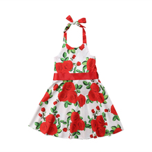 Cute Stylish Baby kids Girl floral Princess red rose print summer sleeveless Pageant Wedding clothes halter Pudcoco Party Dress(China)