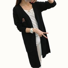 B1570 2017 spring and autumn wear new women long Paragraph New ladies Jersey cardigan sweater cheap wholesale(China)
