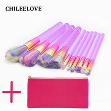 CHILEELOVE 10 Pcs/Set Acrylic Makeup Brush Kit Cosmetic Tool Brush With Bag Purse For Powder Foundation Face Makeover