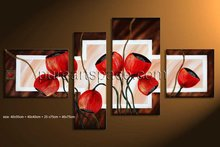 Free shipping! Group Handmade Modern oil painting pictures of Red Flowers Abstract canvas art Noframe