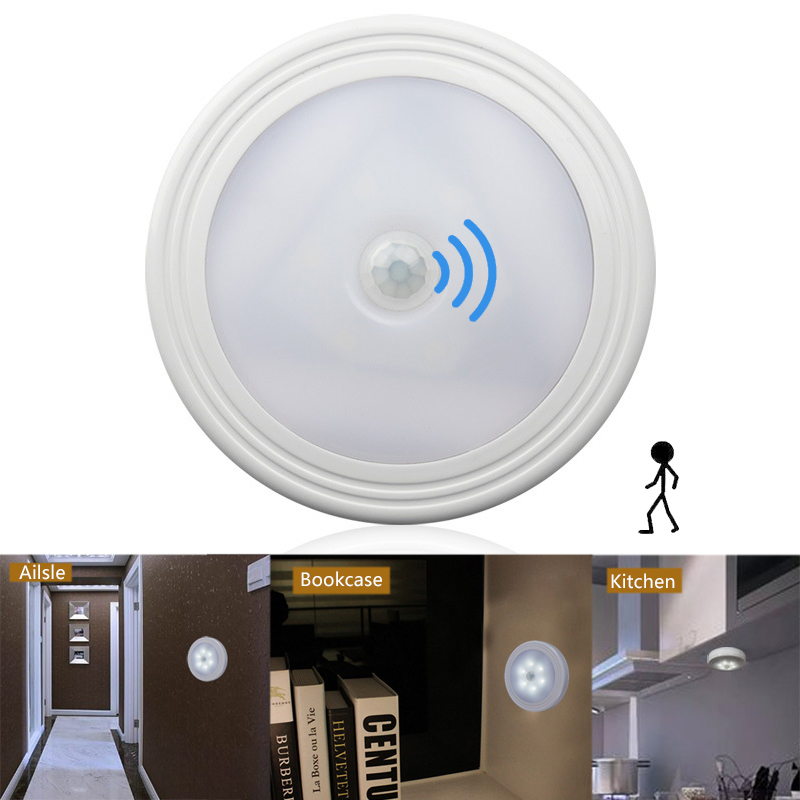 LED Motion Sensor Night Light 6LEDs Led Under Cabinet Light Dry Battery Auto On/Off Wall Lamp for Bedroom Stairs Closet Wardrobe