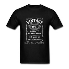Men Short Sleeve T Shirts Vintage Limited 1967 Edition 50th Birthday Gift Male T-Shirts Fashion 2017 off Tops Tees tshirt white(China)