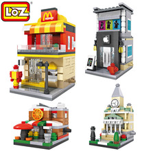 Loz Mini Street Retail Store Shop Architecture 3D Model Building Blocks Apple Store McDonald Cafe KFCE 7-11 City View Scene