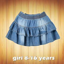 2017 new summer style girl denim tutu mini skirts children layered  jeans kids clothes pettiskirt 8 10 12 14 16T years old