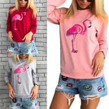 HOT Hoodies Cartoon Flamingos Print Autumn Women Fashion Warm O Neck Casual Hoodies Pullover Tracksuits Sweatshirt Red Tops(China)