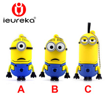 Wholesale Hot sale - Despicable Me 2, 2GB 8GB 16GB 32GB 64GB USB 2.0 Flash Memory Stick Drive U Disk Festival Thumb/Car/Pen Gift(China)
