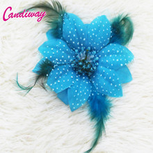 2017 Blue Fashion Style Hairclip Girls Kids Hairpins Hair wear Flower Wedding For Women Hair Accessories Headband Decoration 1pc(China)