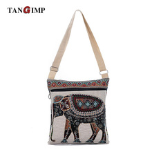 TANGIMP Casual India Elephant Printed Messenger Bag for Girls Mini Flap Shoulder Shopping Canvas Bag Ladies Small Crossbody Bags(China)