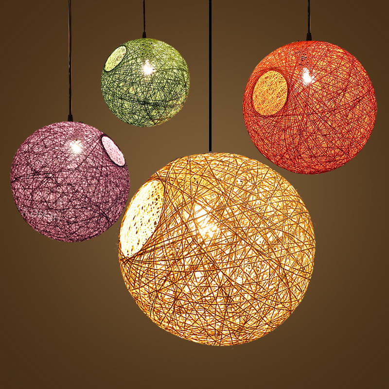 Creative sphere Colorful rattan pendant lights for Milk Tea Chops Restaurant Bar Terrace Balcony lamps ball pendant lamp 90-260V<br>
