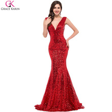 Long Mermaid Prom Dresses Grace Karin Sequin V Neck Black Red Golden Blue Formal Gowns Robe De Soiree Longue Party Dress Prom(China)