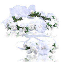 2017 Best price new Good quality Wedding Hair Accessories Wrist Flower Garland Seaside Holiday Pictures WH hair style