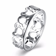 Fashion 925 stamped silver plated Cute Mickey Mouse Head Finger Rings Women Jewelry Romantic Wanita Cantik Bijoux