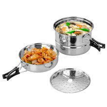 Outdoor Camping Stainless Steel Cookware Picnic Pot Pan Steam Grid 3-Piece Set Tableware Cooking Pot Frying Pan 1.7L