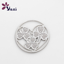 New Item Brand Plates 20pcs/lot Alloy Hollow Silver Lucky Leaf Plate For Floating Cheap Lockets Necklace CHM#334
