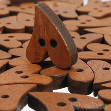 100 PCS Brown Wood Wooden Heart Shape Button Craft Scrapbooking 20mm 02UL 3T1T(China)