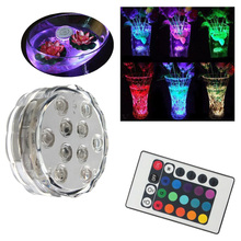 10 LED RGB Multi Color Aqua Submersible Base Candle Light Up Lamp + Remote
