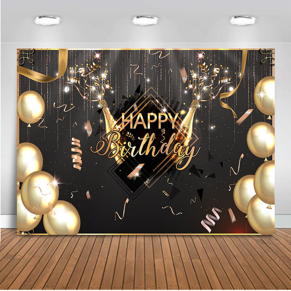 Party-Backdrop Photo-Prop Champagne Gold-Decoration-Supplies Happy-Birthday-Balloons title=